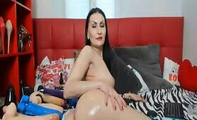 Salacious Brunette And Her Monster Dildos Live
