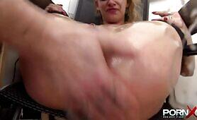 Bizarre dildoing and fisting course for office slave Anita Vixen