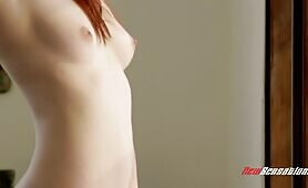 [NewSensations] (Busting hairy pussy of petite redhead Ember Stone )