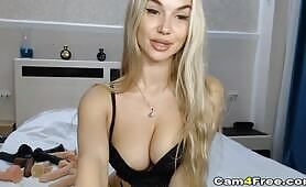 Hot Blonde Fucks Her Tight Pussy
