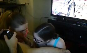 Two Girls Share Guy's Dick While Gaming