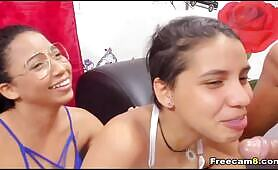 Two Horny Chick Blowjob One Dude
