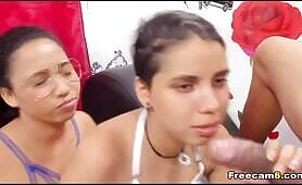Two Horny Ladies Share One Cock